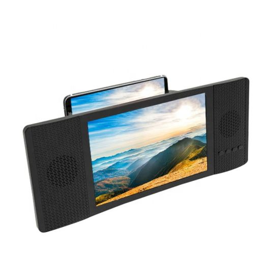 Portable 8 Inch 3D Mobile Phone Screen Magnifier HD TV Acrylic with FM Bluetooth Speakers 4.2