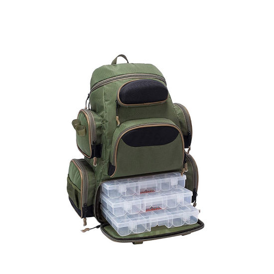 Fishing Tackle Backpack Water Resistant Lightweight Tactical Backpack Soft Tackle Box with Rod Holder and Protective Rain Cover