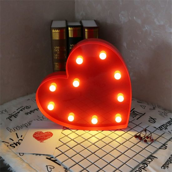 Battery Operated Decorative Light Table Wall Led Heart Shape Marquee Night