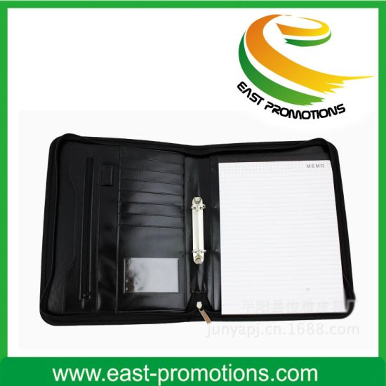 Zipper Business Leather Portfolio File Folder PU Organizer pictures & photos