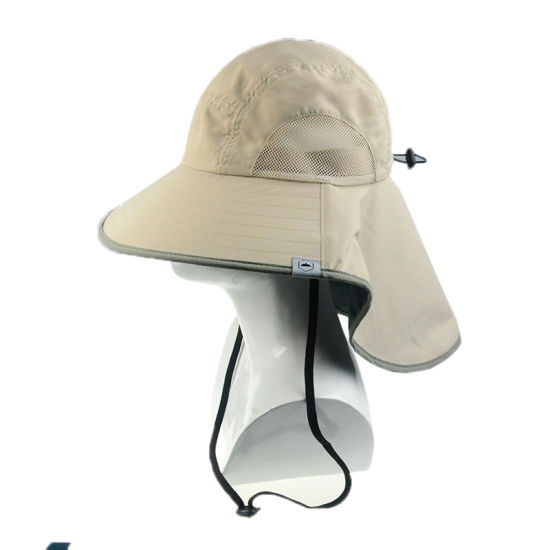 Custom Leisure Cap Polyester Wide Brim Sun Protection Hats with Ear Flap c888526768d