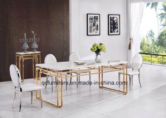 China 2018 Gold Frame Marble Dining Table Set Designs - China Dining ...