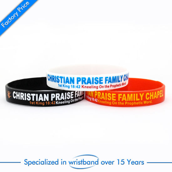 Promotional Enamel Rubber Wristband for Christian Woven Elastic Debossedfashion