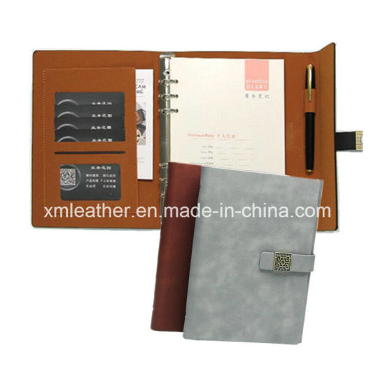 A5 Real Leather Cover Business Trifold Journal Diary Notebook