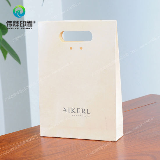 China White Silver Stamping Printing Handle Kraft Paper Gift Bags