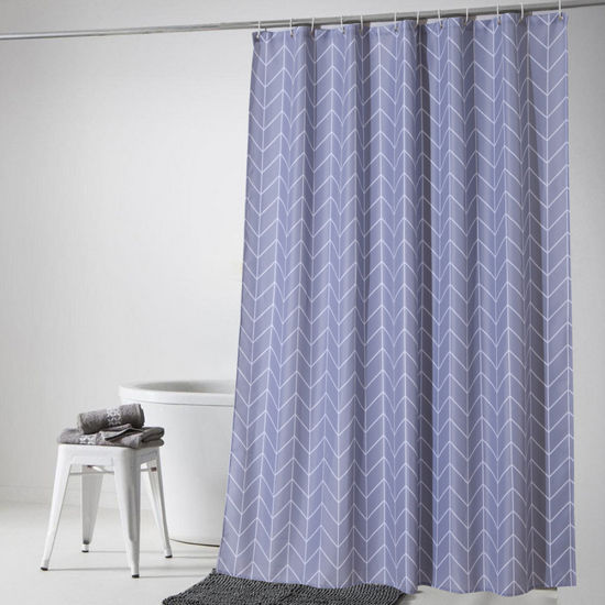 Checks Waterproof Anti Mildew Polyester Fabric Bathroom Shower Curtain 03S0006