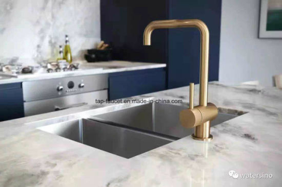 Watermark Kaiping Taps Factory Brushed Gold Kitchen Basin Faucet pictures & photos