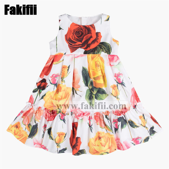 China 2019 Fashion Cute Rose Print Layered Dress New Design Baby Clothing China Kids Wear And Baby Wear Price