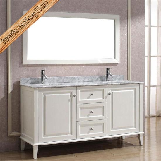 White Color Bathroom Solid Wood Bathroom Vanity Cabinet