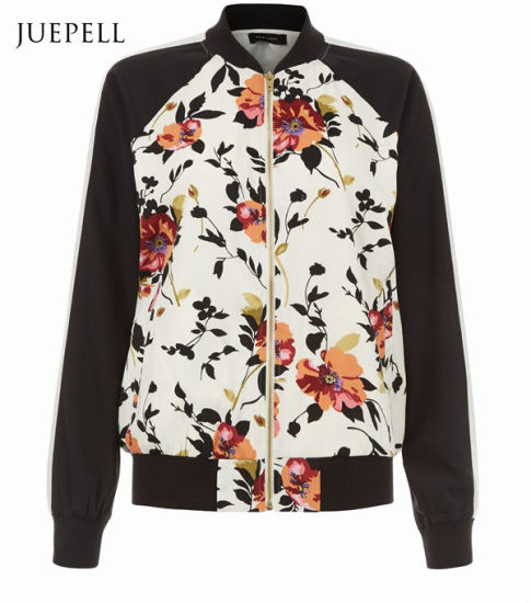 708fb294b3f White Floral Print Contrast Sleeve Sport Women Bomber Jacket pictures    photos