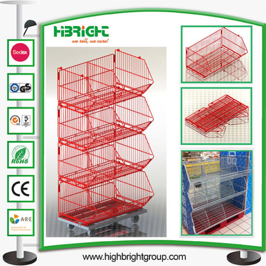 Retail Powder Coating Rolling Wire Stacking Basket Rack pictures & photos