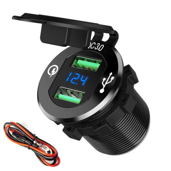 QC 3.0 Waterproof Motorcycle Phone GPS Dual USB Fast Charger with Cable Harness