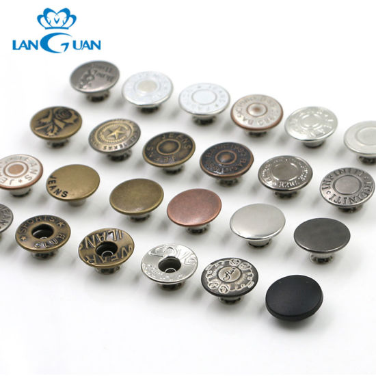 Customized Logo Different Types of Round Metal Jeans Buttons for Clothes