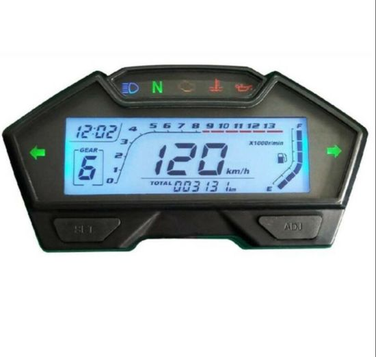 DC12V LCD Motorcycle Speedometer Odometer Rpm Speed Fuel Gauge Kph Mph 0-199km/H pictures & photos
