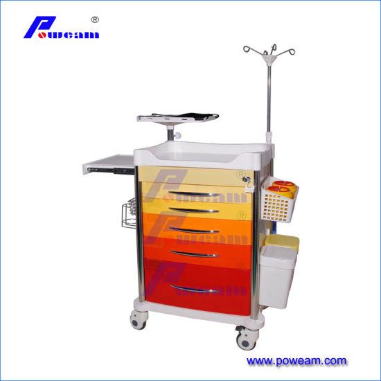 Medical Trolley Plastic Medicine Trolley/ Dressing Cart/Emergency Trolley