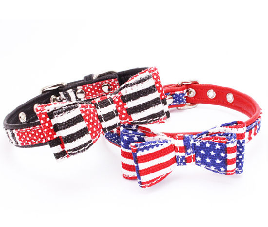 Adjustable PU Pet Dog Collar, with Double Bowknot