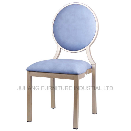Manufacturer Simple Style Round Back blue Fabric Cafe Chair (HM-M071)