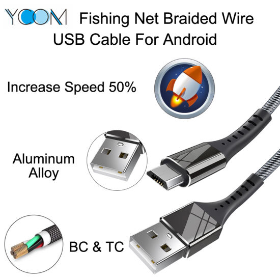Fast Charging Fabric Nylon Braided USB Data Cable for Android Micro