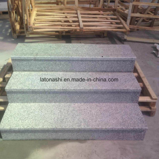 Light Grey Granite Full Bullnose Outdoor Stair Steps Tread Tile Lowes With Anti Slip