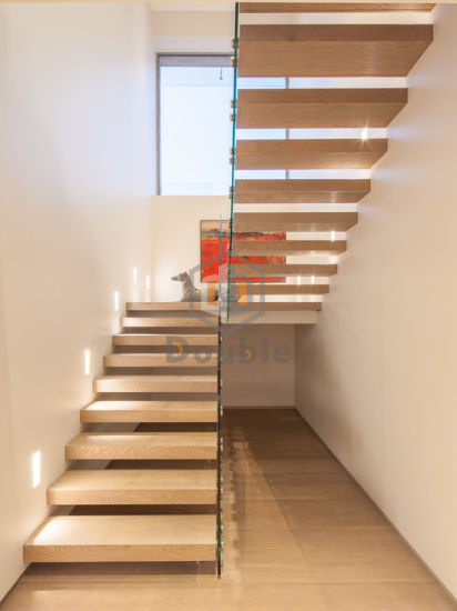 Solid Wood Used Floating Staircase Design With Glass Railing