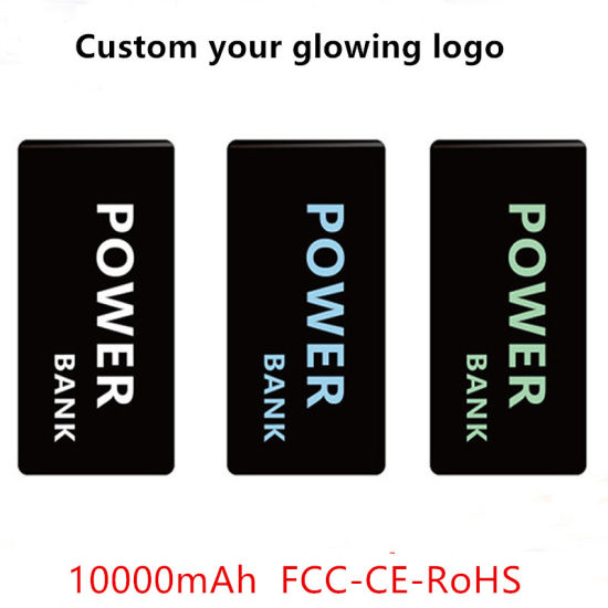 FCC/Ce/RoHS 10000mAh Mobile Phone Power Bank with Glowing Logo pictures & photos