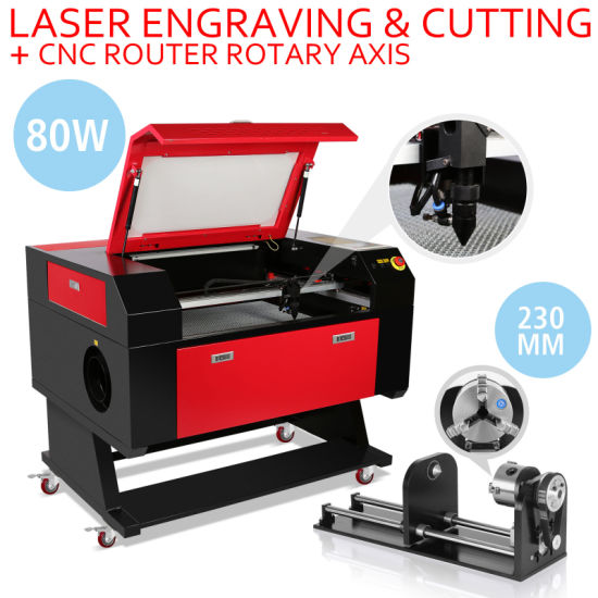 80W CO2 Laser Engraver Engraving Cutting Machine with 80mm 3-Jaw 700*500mm Rotary Axis pictures & photos