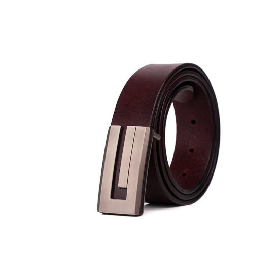 Full Grain Leather Belts with Press Buckles for Men
