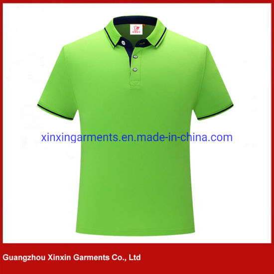 High Quality Wholesale Men Custom Logo Quick Dry Fit Black Sports Golf Pique Polo Shirts (P373)