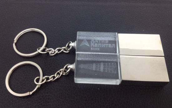 Promotional Crystal USB Drive with Keychain, Wholesale Metal Key USB Flash Drive pictures & photos