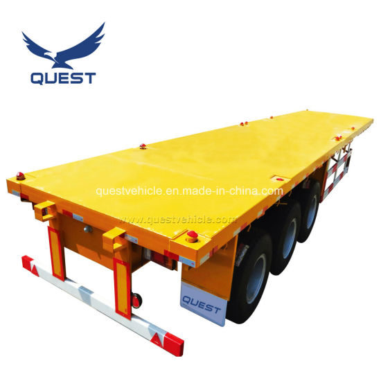 Quest 3 Axle 40FT 20FT Flatbed Cargo Container Semi Trailer