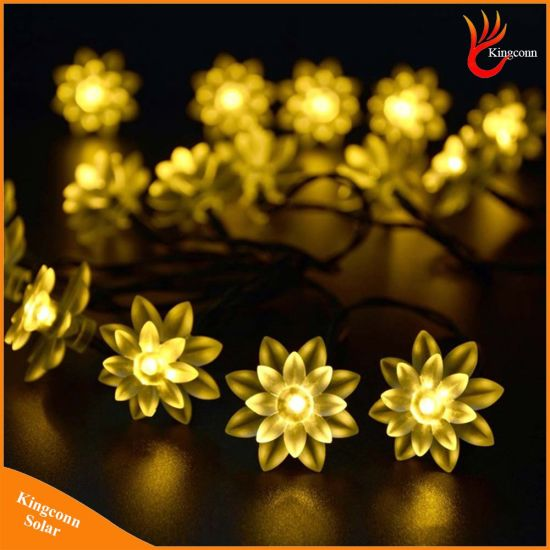 6m 30LEDs Fairy Lotus Flower LED Solar Christmas String Lights pictures & photos