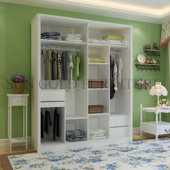 Modern Bedroom Closet 2 Door Wooden Wardrobe Cabinet Design (SZ-WDT004)