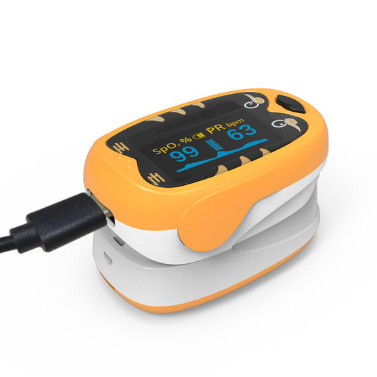 Child Pulse Oximeter Fingertip Pediatric Oxygen Saturation Monitor Lithium Battery USB Rechargeable
