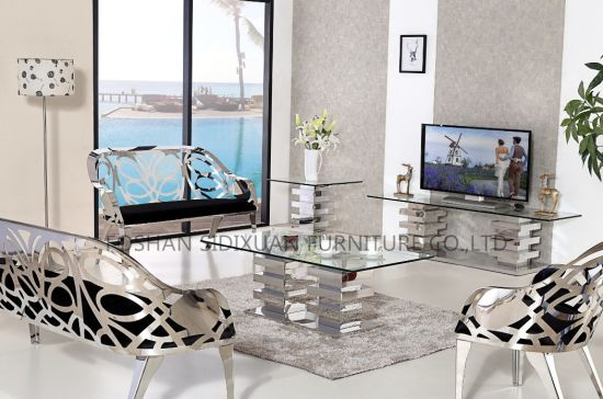 china manufacture stainless steel living room sofa with coffee table rh sdx2016 en made in china com TV Wall Units for Living Room TV Entertainment Furniture