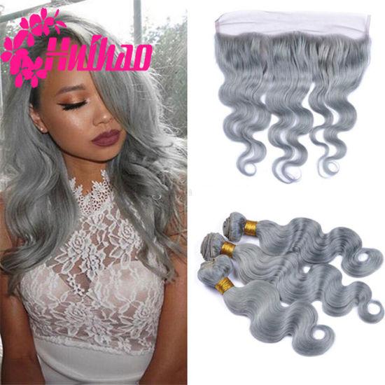Top Quality 100% Unprocessed Brazilian Virgin Ombre Grey Hair Cheap Remy Grey Human Hair Weaving