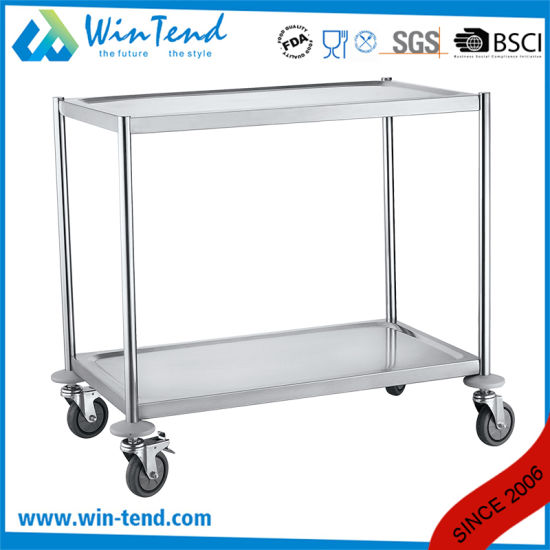 Newly Design 2 Tiers Round Tube Multipurpose Buffet And Dining Room Trolley