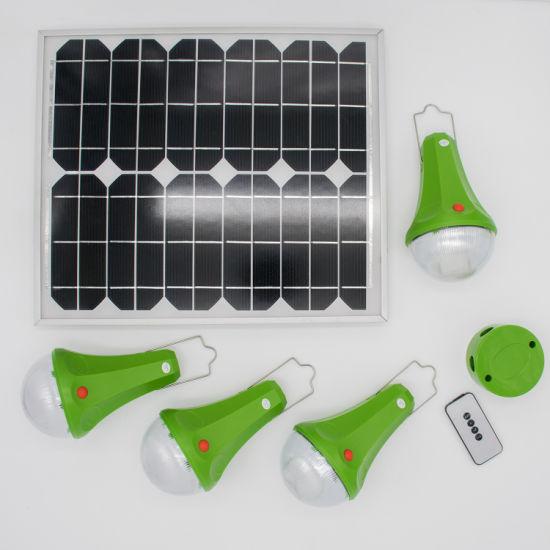 Solar Powered Panel LED Lighting System Lights Portable Bulb Garden Tent Lamp