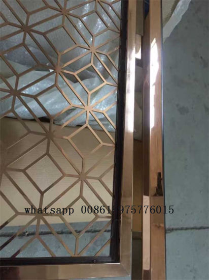 China Metal Room Dividers Stainless Steel Decorative Screens Golden