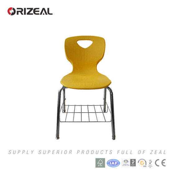 Orizeal School Furniture Plastic and Metal Chair with Metal Book Net pictures & photos