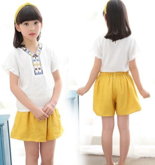 Cotton Hemp Children Tshirt Pants Suit Korean Design Children Clothes