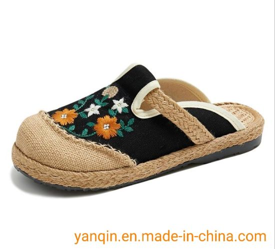 New National Style Embroidered Shoes Flat Heel Low - Help Women′ S Cloth Shoes Embroidered Elegant Hanfu Shoes Manufacturers Spot