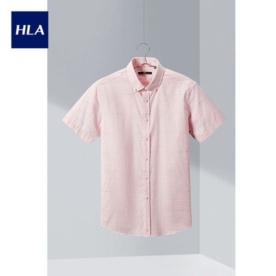 Hla Fashion Check Short Sleeve Casual Shirt 2020 Summer New Comfortable Cotton Short Lining Men