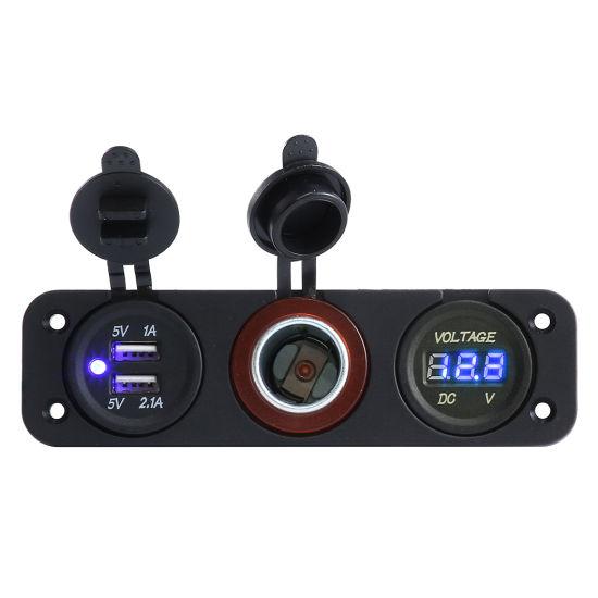Cigarette Lighter Voltmeter 3.01A Dual USB Socket Panel for ATV