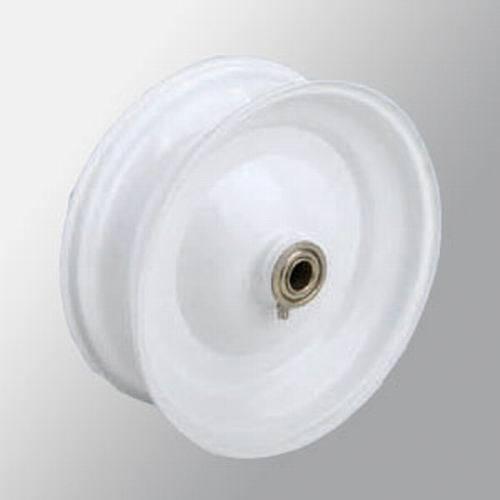 White 8 * 2.5 Single PC Iron Rim Wheel
