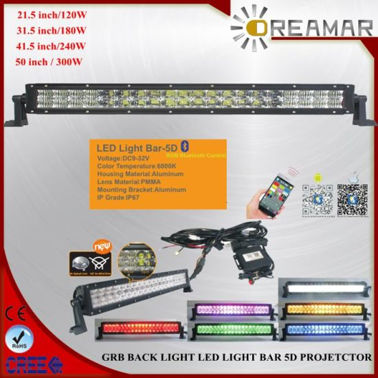 120W. 180W, 240W, 300W 5D CREE Offroad Dual Row Warming LED Light Bar