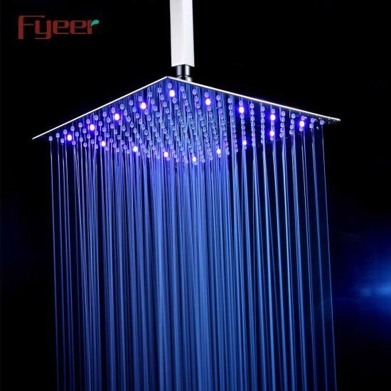 Fyeer Big Size 16 Inch Ultrathin 304 Stainless Steel LED Shower Head