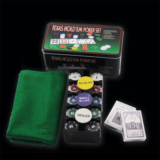Poker Chip with 200 Chips Tablecloths Poker Cards Iron Box Packaging