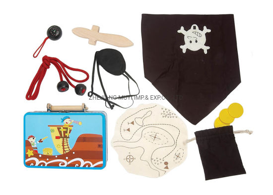 Intellectual Educational Wooden Toys for Kids Gift, 22084 Pirate Playset in Tin Suitcase From Lindatoy