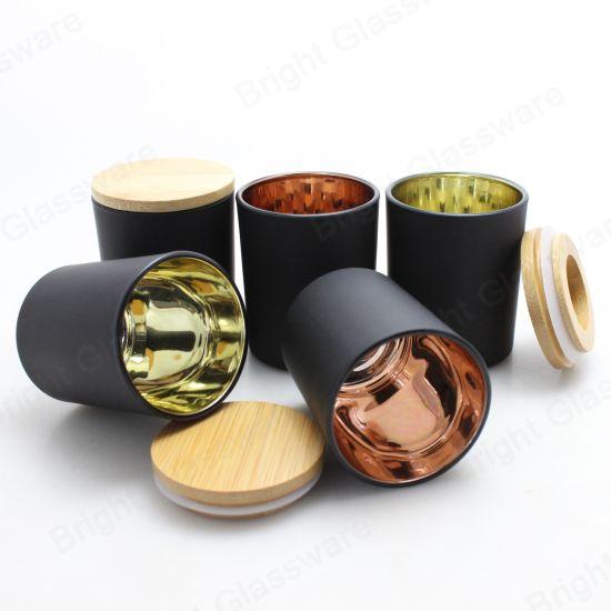 Black Matte Plating Inner Rose Gold Glass Candle Holder Jar
