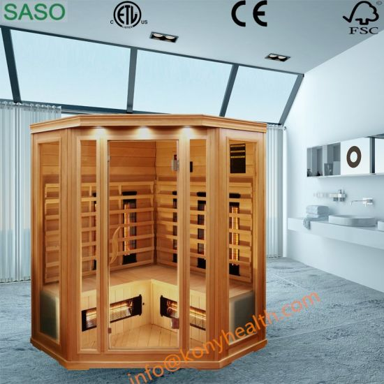 Big Corner Far Infrared Wooden Sauna Room Made of Canada Hemlock or Cedar with Ceramic Heater or Carbon Heater Suitable for 4 to 5 Person Use in Family Bathroom